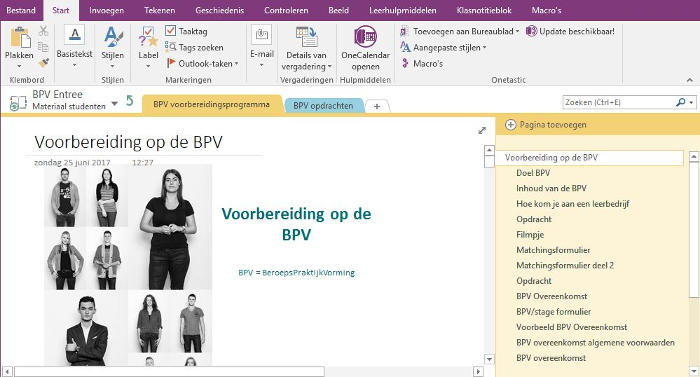 BPV notitieblok in ClassNotebook