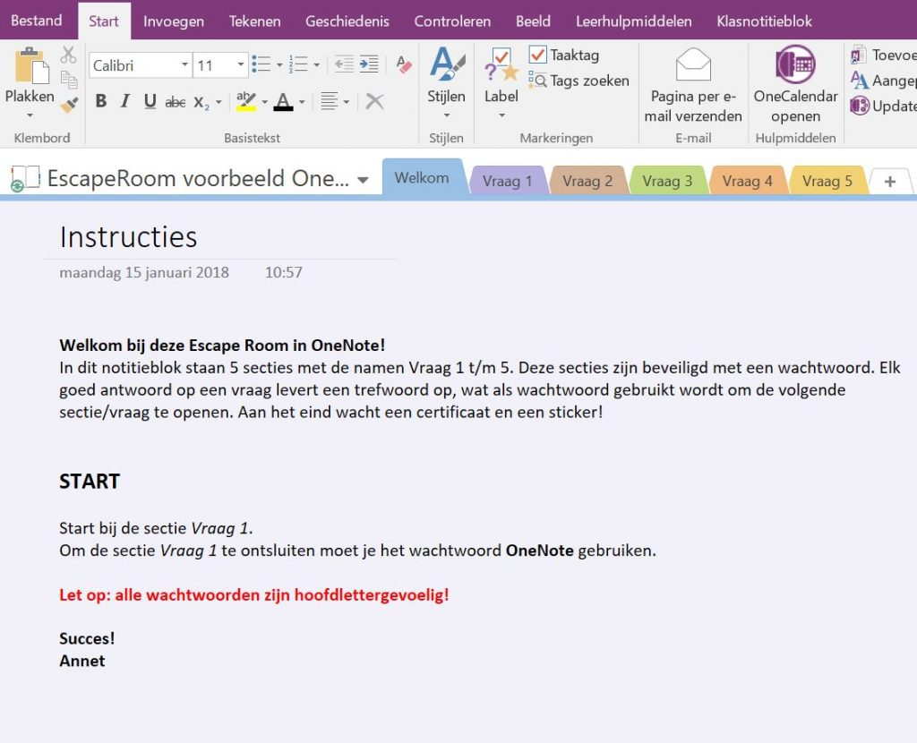 De Escape Room in OneNote
