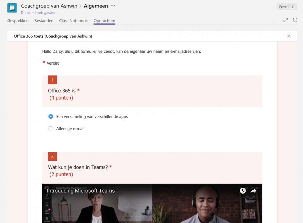 Quiz in Microsoft Teams maken